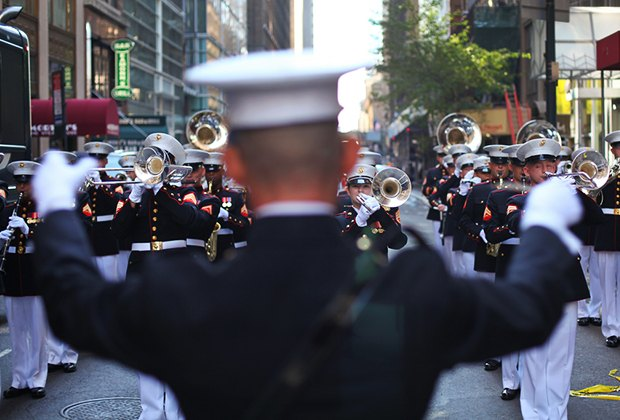 Catch the marching band during the Columbus Day Parade