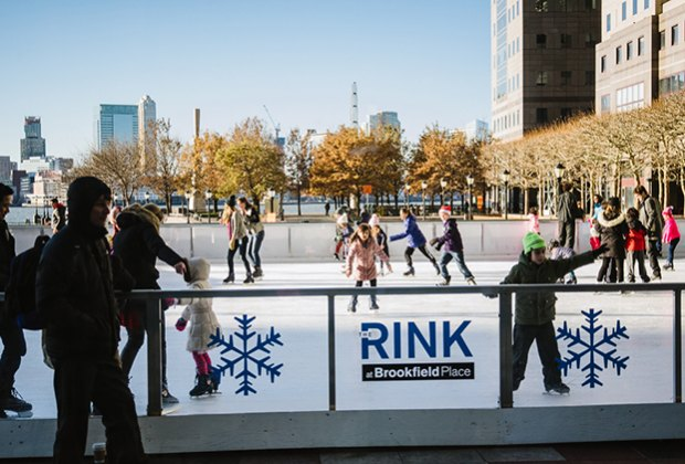 The rink at Brookfield Place is popular among neighborhood kids who fill the ice after school.